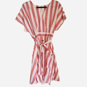 Pink and white striped dress with wrap